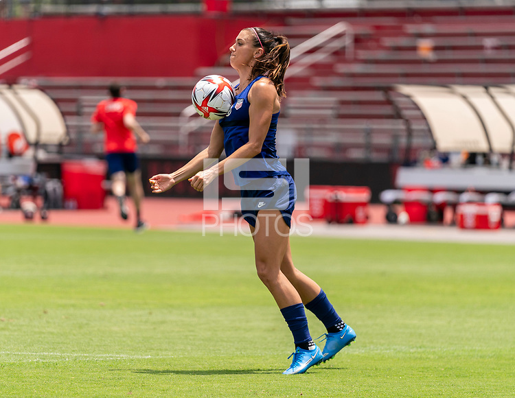 HOUSTON, TX - JUNE 8: Alex Morgan #13 of the USWNT controls the ball during a training session at the University of Houston on June 8, 2021 in Houston, Texas.