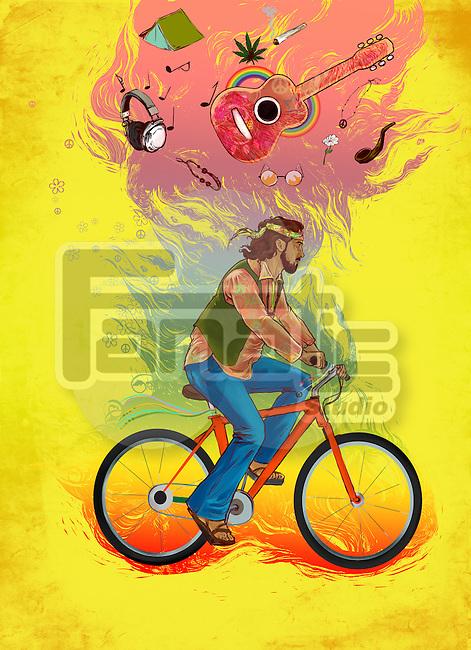 Illustrative image of hippy man riding bicycle