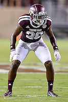 Texas A&M defensive back Devonta Burns (26) on the line of scrimmage during NCAA Football game, Saturday, September 06, 2014 in College Station, Tex. Texas A M defeated Lamar 73-3. (Mo Khursheed/TFV Media via AP Images)