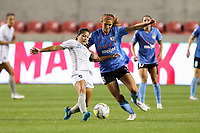 SANDY, UT - JULY 22: Nahomi Kawasumi #9 of Sky Blue FC and Kayla Sharples #28 of Chicago Red Stars play for the ball during a game between Sky Blue FC and Chicago Red Stars at Rio Tinto Stadium on July 22, 2020 in Sandy, Utah.