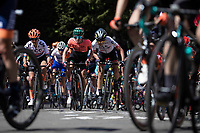 peloton up the infamous Mur de Huy.<br /> <br /> 22nd la Flèche Wallonne Féminin 2019 (1.WWT)<br /> 1 Day Race: Huy – Huy 118,5km<br /> women's elite race<br /> <br /> ©kramon