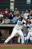 Myrtle Beach Pelicans catcher Tomas Telis #17 at bat during a game against the Wilmington Blue Rocks at Tickerreturn.com Field at Pelicans Ballpark on April 7, 2012 in Myrtle Beach, SC. Myrtle Beach defeated Wilmington 2-1. (Robert Gurganus/Four Seam Images)