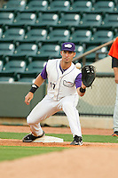 Winston-Salem Dash first baseman Rangel Ravelo (17) stretches for a throw during the Carolina League game against the Frederick Keys at BB&T Ballpark on May 28, 2013 in Winston-Salem, North Carolina.  The Dash defeated the Keys 17-5 in the first game of a double-header.  (Brian Westerholt/Four Seam Images)