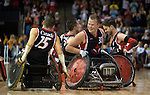 MISSISSAUGA, ON, AUGUST 14, 2015. Gold Medal Game in Wheelchair Rugby - CAN 57 vs USA 54.<br /> Photo: Dan Galbraith/Canadian Paralympic Committee