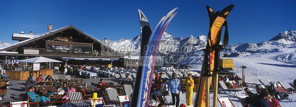 """Europe/France/Rhone-Alpes/73/Savoie/Courchevel 1850 : Terrasse du restaurant de piste """"Le Cap Horn"""""""