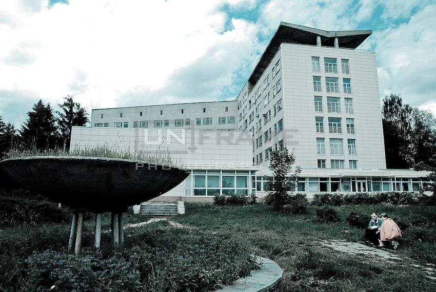 A general view at the Kharkov Regional emergency hospital hospital's main entrance. Kharkov, Ukraine.