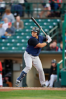 Scranton/Wilkes-Barre RailRiders first baseman Ji-Man Choi (36) at bat during the first game of a doubleheader against the Rochester Red Wings on August 23, 2017 at Frontier Field in Rochester, New York.  Rochester defeated Scranton 5-4 in a game that was originally started on August 22nd but was was postponed due to inclement weather.  (Mike Janes/Four Seam Images)