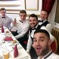 Pictured: Aaeron Evans (3RD FROM L), image taken from his social media page.<br /> Re: Trial at Cardiff Crown Court of Jake Vallely, 23 and Aaeron Evans, 22, charged with murder and causing actual bodily harm respectively in relation to the death of serviceman Matthew Boyd, 20, from the Royal Gibraltar Regiment who was discovered injured and unconscious in Lion Street, Brecon, at 1am on May 8, 2016. The two defendants were arrested shortly afterwards and charged four days later.