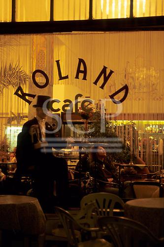 Bratislava, Slovakia. View into the window of the Roland cafe.