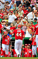 24 May 2009: Washington Nationals' first baseman Adam Dunn returns to the dugout after hitting a two-run homer against the Baltimore Orioles at Nationals Park in Washington, DC. Dunn hit two home runs for the day including a Grand Slam as the Nationals rallied to defeat the Orioles 8-5 and salvage one win of their interleague series. Mandatory Credit: Ed Wolfstein Photo