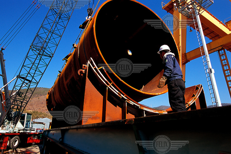 Steel works manufacturing equipment for the petro chemical industry.