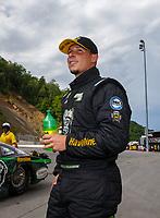 Jun 18, 2017; Bristol, TN, USA; NHRA pro stock driver Alex Laughlin during the Thunder Valley Nationals at Bristol Dragway. Mandatory Credit: Mark J. Rebilas-USA TODAY Sports