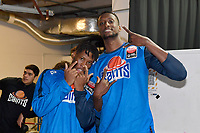 Kerwin Roach and Romaro Gill of the Wellington Saints, round two NBL match between the Wellington Saints and the Southland Sharks at TSB Bank Arena, Wellington, New Zealand on Friday 7 May 2021.<br /> Photo by Masanori Udagawa. <br /> www.photowellington.photoshelter.com