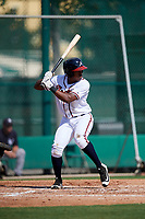 GCL Braves second baseman Braulio Vasquez (20) at bat during the first game of a doubleheader against the GCL Yankees West on July 30, 2018 at Champion Stadium in Kissimmee, Florida.  GCL Yankees West defeated GCL Braves 7-5.  (Mike Janes/Four Seam Images)