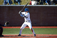 Logan McNeely (18) of the Wingate Bulldogs at bat against the Concord Mountain Lions at Ron Christopher Stadium on February 2, 2020 in Wingate, North Carolina. The Mountain Lions defeated the Bulldogs 12-11. (Brian Westerholt/Four Seam Images)
