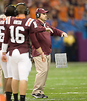 Virginia Tech defensive coordinator coach Bud Foster is pictured during Sugar Bowl game against Michigan at Mercedes-Benz SuperDome in New Orleans, Louisiana on January 3rd, 2012.  Michigan defeated Virginia Tech, 23-20 in first overtime.