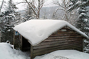 Resolution Shelter - Located off Davis Path in the Dry River Wilderness in the White Mountains, New Hampshire USA. The Resolution shelter was an Adirondack-style shelter that was closed in 2009 because of safety issues. It was torn down in December of 2011.