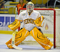 14 November 2008: University of Vermont Catamount goaltender Rob Madore, a Freshman from Venetia, PA, warms up prior to starting against the Northeastern University Huskies at Gutterson Fieldhouse in Burlington, Vermont. The Catamounts fell to the Huskies 5-3...Mandatory Photo Credit: Ed Wolfstein Photo