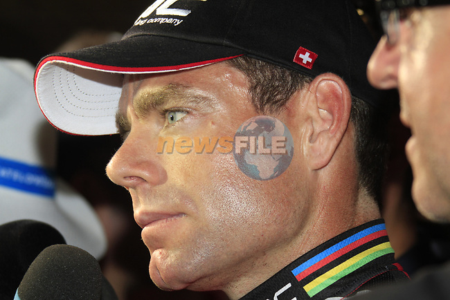 Defending Champion Cadel Evans (AUS) BMC Racing Team at the Team Presentation Ceremony before the 2012 Tour de France in front of The Palais Provincial, Place Saint-Lambert, Liege, Belgium. 28th June 2012.<br /> (Photo by Eoin Clarke/NEWSFILE)