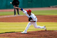 Tennessee Smokies starting pitcher Javier Assad (32) delivers a pitch to the plate against the Montgomery Biscuits on May 8, 2021, at Smokies Stadium in Kodak, Tennessee. (Danny Parker/Four Seam Images)
