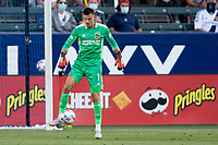 CARSON, CA - MAY 8: Jonathan Bond #1 of the Los Angeles Galaxy moves with the ball during a game between Los Angeles FC and Los Angeles Galaxy at Dignity Health Sports Park on May 8, 2021 in Carson, California.