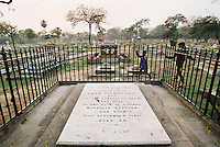 The grave of John Nicholson in a Christian cemetery in Delhi. He commanded the force of British, Sikh and Pathan soldiers that marched hundreds of miles down the Grand Trunk Road to lead the battle that restored British control of Delhi after the Indian Mutiny or Great Uprising in 1857.