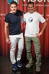 Spanish actor Antonio Banderas and Jorge Martinez during the presentation of the new App 'Vibuk' at Palacio de la Prensa in Madrid, Spain September 12, 2017. (ALTERPHOTOS/Borja B.Hojas)