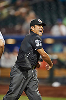 Home plate umpire Nestor Ceja tosses the manager of the Omaha Storm Chasers in action against the Round Rock Express at Werner Park on May 27, 2018 in Papillion , Nebraska. Round Rock defeated Omaha 8-3. (Stephen Smith/Four Seam Images)