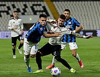 Lautaro Martinez of Inter Diego Farias  during the  italian serie a soccer match,Spezia Inter Milan at  the STadio Picco in La Spezia Italy ,