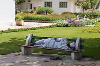Dakar, Senegal.  Dakar Hospital. Man Resting on a Bench in Garden Courtyard.