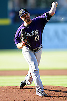 David Holmberg (19) of the Louisville Bats  delivers a warm up pitch prior to the game versus the Pawtucket Red Sox at McCoy Stadium on May 30, 2015 in Pawtucket, Rhode Island.<br />