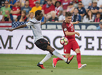 Commerce City, CO - Thursday June 08, 2017: Nathan Lewis, Jorge Villafana during a 2018 FIFA World Cup Qualifying Final Round match between the men's national teams of the United States (USA) and Trinidad and Tobago (TRI) at Dick's Sporting Goods Park.
