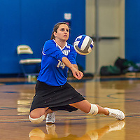 18 October 2015: Yeshiva University Maccabee Setter and Defensive Specialist Emily Rohan, a Senior from Dallas, TX, digs for the ball during game action against the Sage College Gators, at the Peter Sharp Center, College of Mount Saint Vincent, in Riverdale, NY. The Gators defeated the Maccabees 3-0 in the NCAA Division III Women's Volleyball Skyline matchup. Mandatory Credit: Ed Wolfstein Photo *** RAW (NEF) Image File Available ***