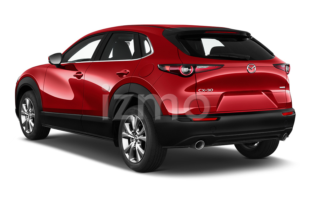 Car pictures of rear three quarter view of 2020 Mazda CX-30 Select 5 Door SUV Angular Rear