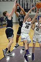 Bentonville West's Jacob McGhee (34) and Dawson Price (3) battle for a rebound Tuesday, Jan. 5, 2021, with Fayetteville's Matt Wayman (20) during the first half of play in Bulldog Arena in Fayetteville. Visit nwaonline.com/210106Daily/ for today's photo gallery. <br /> (NWA Democrat-Gazette/Andy Shupe)