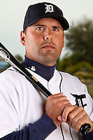 February 27, 2010:  Catcher Gerald Laird (8) of the Detroit Tigers poses for a photo during media day at Joker Marchant Stadium in Lakeland, FL.  Photo By Mike Janes/Four Seam Images