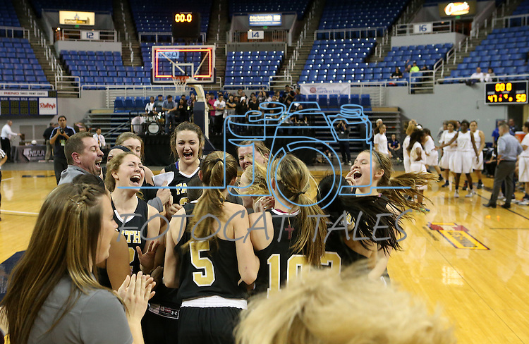 Faith Lutheran celebrates after a 50-47 victory over Spring Valley in the NIAA Division I-A state basketball championship in Reno, Nev. on Saturday, Feb. 27, 2016. Cathleen Allison/Las Vegas Review-Journal