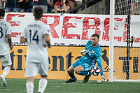 FOXBOROUGH, MA - AUGUST 4: Matt Turner #30 of New England Revolution stops a shot on goal during a game between Los Angeles FC and New England Revolution at Gillette Stadium on August 3, 2019 in Foxborough, Massachusetts.