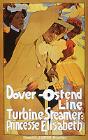 'Dover- Ostend Line', poster advertising travel between England and Belgium on the Princesse Elisabeth, c.1900, Hohenstein, Adolfo (1854-1928)