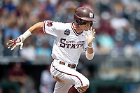 Mississippi State Bulldogs outfielder Jake Mangum (15) runs to first base during Game 8 of the NCAA College World Series against the Vanderbilt Commodores on June 19, 2019 at TD Ameritrade Park in Omaha, Nebraska. Vanderbilt defeated Mississippi State 6-3. (Andrew Woolley/Four Seam Images)