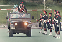 1987 FILE PHOTO - ARCHIVES -<br /> <br /> The Queen Mother; colonel-in-chief of the Black Watch of Canada; inspects her infantry unit as it celebrated its 125th anniversary at Percival Molson stadium yesterday in Montreal.<br /> <br /> 1987<br /> <br /> PHOTO :  Erin Comb - Toronto Star Archives - AQP