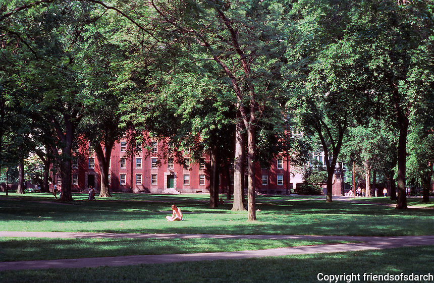 Cambridge:  Harvard Yard--looking North from the (more or less) center of the yard.  Photo '88.