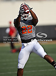 Oklahoma State Cowboys running back Joe Aska Jr. (22) in action during the game between the Louisiana-Lafayette Ragin Cajuns and the Oklahoma State Cowboys at the Boone Pickens Stadium in Stillwater, OK. Oklahoma State defeats Louisiana-Lafayette 61 to 34.