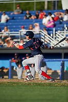 Lowell Spinners catcher Samuel Miranda (20) at bat during a game against the Batavia Muckdogs on July 11, 2017 at Dwyer Stadium in Batavia, New York.  Lowell defeated Batavia 5-2.  (Mike Janes/Four Seam Images)