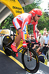 Aliaksandr Kuchynski (BLR) Katusha Team powers down the start ramp of the Prologue of the 99th edition of the Tour de France 2012, a 6.4km individual time trial starting in Parc d'Avroy, Liege, Belgium. 30th June 2012.<br /> (Photo by Eoin Clarke/NEWSFILE)