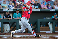 Alfonso Rivas III #20 of the Arizona Wildcats bats during a College World Series Finals game between the Coastal Carolina Chanticleers and Arizona Wildcats at TD Ameritrade Park on June 27, 2016 in Omaha, Nebraska. (Brace Hemmelgarn/Four Seam Images)