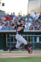 Seth Spivey (6) of the High Desert Mavericks bats during a game against the Lancaster JetHawks at The Hanger on September 5, 2015 in Lancaster, California. High Desert defeated Lancaster 7-6. (Larry Goren/Four Seam Images)