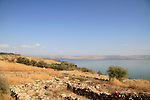 Israel, a view of the Sea of Galilee from Tel Kinrot