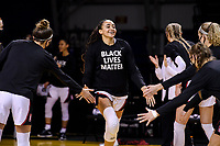 SANTA CRUZ, CA - JANUARY 22: Haley Jones #30 being introduced before the Stanford Cardinal women's basketball game vs the UCLA Bruins at Kaiser Arena on January 22, 2021 in Santa Cruz, California.