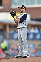 Toledo Mud Hens starting pitcher Robbie Ray #24 looks in for the signals during a game against the Durham Bulls at Durham Bulls Athletic Park on July 25, 2014 in Durham, North Carolina. The Mud Hens defeated the Bulls 5-3. (Tony Farlow/Four Seam Images)